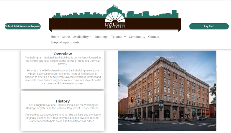 Screenshot of Bellingham National Bank Building page on Daylight Properties site